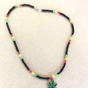 Rasta Pot leaf beaded necklace unisex